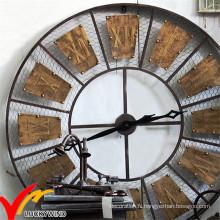 Belle rétro vintage industriel rustique rond décoordinateur en métal décoration murale horloge