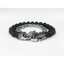Rantai Stainless Steel Agate Bead Lobster Buckle Bracelet