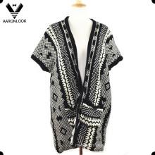 Mulheres moda inverno malha camisola xale