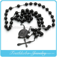 Stainless Steel Black Plated Rosary Bead Jewelry With Cross Pendant