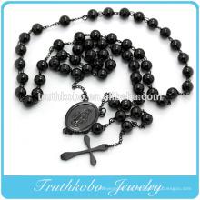 Jóia chapeada preto de aço inoxidável do grânulo do rosário com pendente transversal