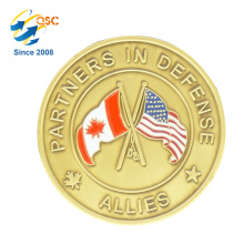 Free Sample High Quality Brass Metal Sliver Color Promotion Coin