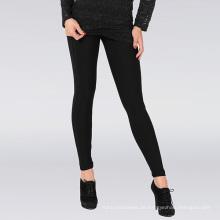 Hot Lady Klassische schwarze Plain Leggings mit breiter Band