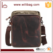 China Factory Wholesale High Quality Genuine Leather Canvas Bag Shoulder