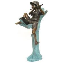 jardim ao ar livre decoração metal brozne menino tocando flauta estátua