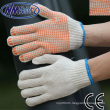 NMSAFETY polycotton string knitted glove with orange PVC dots glove