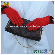 Women's red grey black wool lined wool gloves