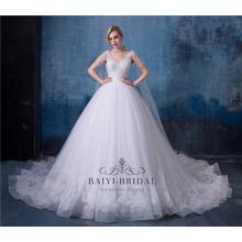 Longo trem princesa vestido de noiva branco removível vestidos de noiva 2018 vestido de noiva com xaile
