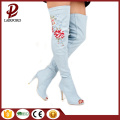 denim fabric embroidery flower over knee boots
