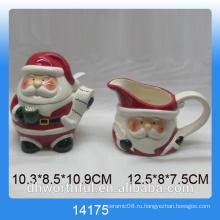 2016 Рождественская посуда керамический сахарный горшок и молочный кувшин