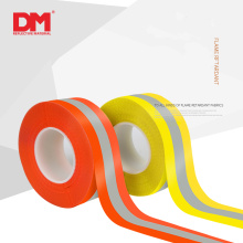 fluorescent red silver flame retardant warning reflective tape with cotton backing