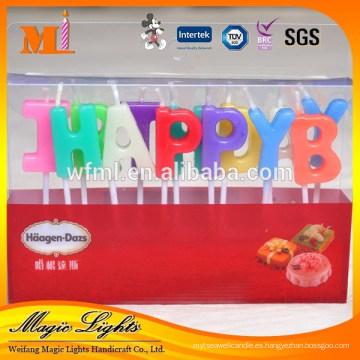 Hermosas letras de vela de pastel de cumpleaños de alta calidad de diseño