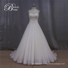 Vestido de novia rebordear sin tirantes elegante cariño