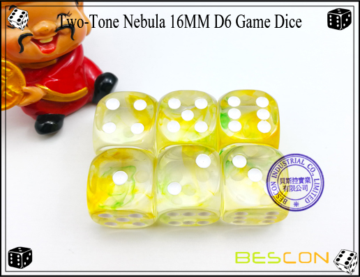 Two-Tone Nebula 16MM D6 Game Dice-3