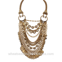 Cadena de la serpiente de la cadena collar hawaiano de la playa del collar de la moneda de oro anti-plateada