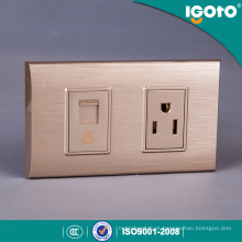 Moldura dourada padrão americana 1 Gang Tel Socket e American 3 Pin Socket Use to Home