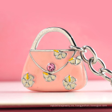 Llavero en forma de bolso de la flor del rosa del metal de la moda 2016 para el bolso