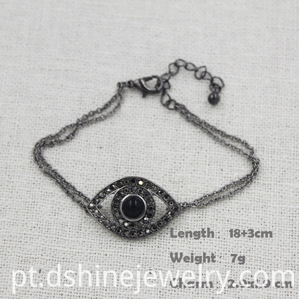 Chain Diamond Evil Eye Bracelet