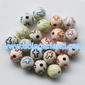 8MM&10MM Acrylic Round White Beads With Neon Color Corss Spacer Cross Pattern Chunky Beads