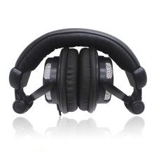 Black Soft leather foldable over head earphone