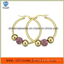 Shineme joyas de moda mujer pendiente de chapado en oro (ERS7012)