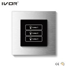 Cadre de contour en alliage d'aluminium à panneau tactile de commutateur d'éclairage 3 bandes (HR1000-AL-L3)