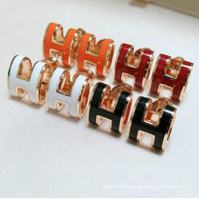No Fade Stainless Steel Earrings Women Fashion Titanium Steel Enamel Red Black White Orange Colorful Letter H Earrings