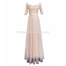 Decote de colher de noiva completa de volta do laço de uma peça popular indiano vestidos de festa de casamento