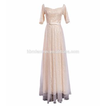 colorful instock middle sleeve laced floor length western party wear one piece evening dress for wedding
