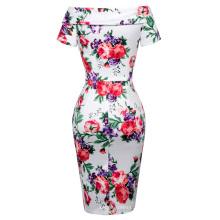 Belle Poque Stock Retro Vintage Kurze Ärmel aus Schulter Hüften-eingewickelte Blume gedruckt Vintage Kleid 8 Größe US 2 ~ 16 BP000117-6