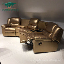 Top Grain Leather Reclining Cinema Home Theater Chair with Cup Holder