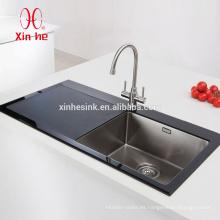 Fregadero de cristal templado del lavabo superior del cuenco del acero inoxidable durable para la cocina con el escurridor de cristal