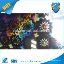 Película de holograma transparente autoadhesiva / película de embalaje de decoración / película holográfica