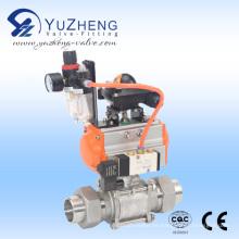 Válvula de bola 3PC con el extremo de la unión con el actuador neumático