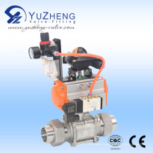 3PC Ball Valve with Union End with Pneumatic Actuator