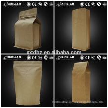 Bolsa de papel kraft natural con cremallera y válvula para café