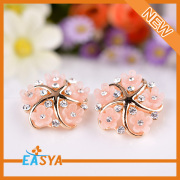2015 Latest Design Jewelry Resin Flower Gold Plated Starfish Earring