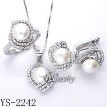 Fabrik Direktverkauf Silber Schmuck Perle Set 925 Silber (YS-2242)