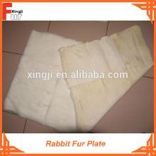 Blanc véritable fourrure blanchie, plaque de fourrure de lapin