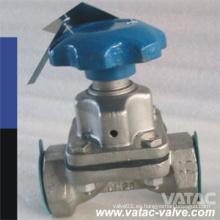 Wcb Cuerpo FEP Lining Weir Type Válvula de diafragma