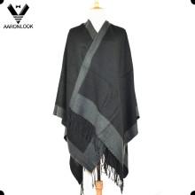 Unisex Woven Knit Big Shawl with Self-Fringes