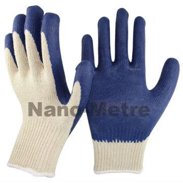 NMSAFETY 10 calibre polycotton natural revestido de malha revestimento liso látex azul na palma luvas de látex econômico / luvas de trabalho