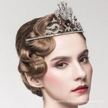 Moda Rainha Coroa De Cristal Vermelho E Tiara Pura Tiara Coroa De Ouro Branco