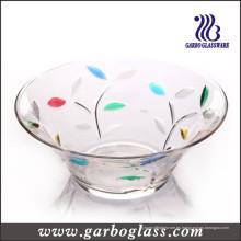 Tazón grande grande de la ensalada del vidrio del tamaño con el color de pulverización