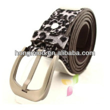 2014 Leisure link leopard PU leather belt Fashion Korean silver Pin buckle for men and women