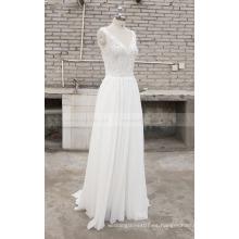 Elegante gasa de encaje una línea de cuello en V vestido de novia sin mangas