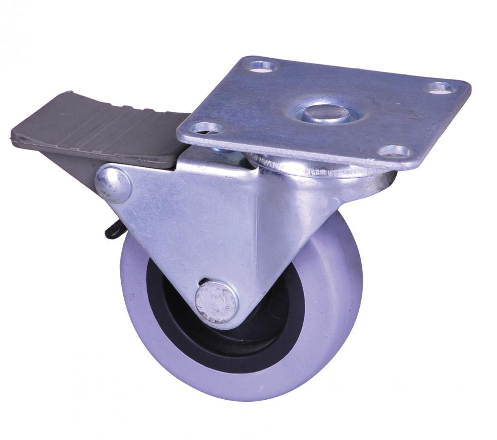 2 inch plate caster with lock TPE wheel
