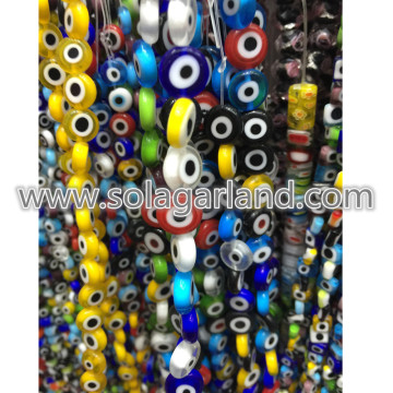6-12MM Oblate ronde platte Evil Eye Crystal glaskralen