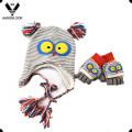 Зимний теплый милый животных вязание детей шляпа перчатки