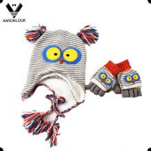 Inverno morno bonito animal tricô crianças chapéu luva